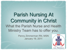 CIC Parish Nurse - Communityinchrist.net