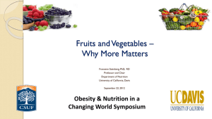 Fruit/Vegetable Diet - Nutrition For A Changing World