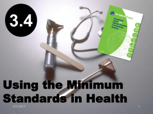 3.4 Using the Minimum Standards in Health Action