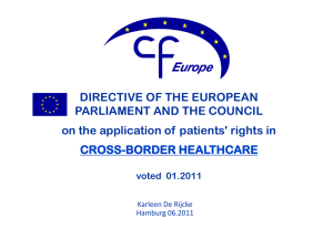 Presentation on the EU directive on crossborder healthcare