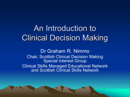 Introduction to CDM - Scottish Intensive Care Society