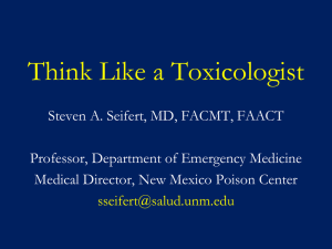Think Like A Toxicologist - UNM Internal Medicine Resident Wiki
