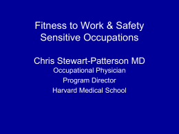 Fitness to Work & Safety Sensitive Occupations
