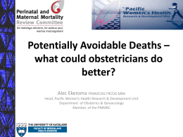 1430 Potentially Avoidable Deaths PMMRC