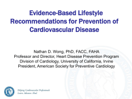 Evidence-Based Lifestyle Measures for Prevention on CVD