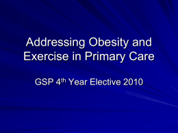 Diet and Exercise Counseling in Primary Care