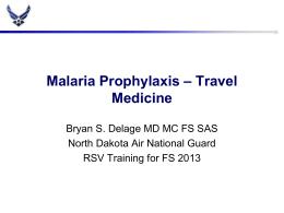 Malaria Prophylaxis – Travel Medicine