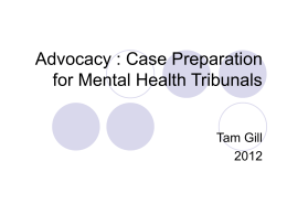 Advocacy Before the Mental Health Tribunal