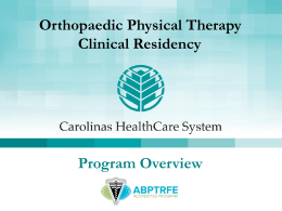 Orthopaedic Physical Therapy Clinical Residency