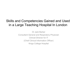 Skills and Competencies Gained and Used in a - E