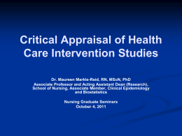 Critical Appraisal Criteria for Health Care Intervention Studies