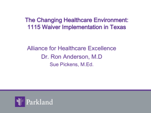 1115 Waiver - Alliance for Healthcare Excellence