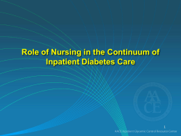 Improving Inpatient Diabetes Care - American Association of Clinical