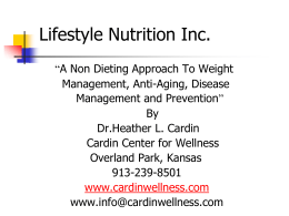 Lifestyle Nutrition Inc. - Cardin Center for Wellness