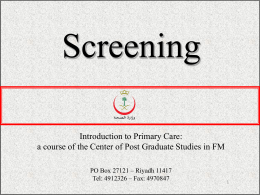 World Health Organization — Principles of Screening