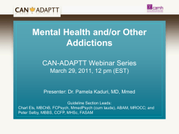 Mental Health and Other Addictions webinar - CAMH