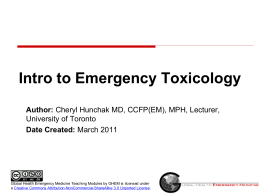 Intro toToxicology - Global Emergency Health Medicine