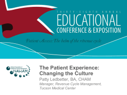 The Patient Experience - National Association of Healthcare Access