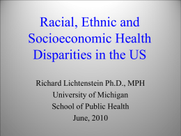 SEP 2010 Racial and Ethnic Disparities Orientation