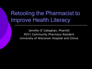 Retooling the Pharmacist to Improve Health Literacy