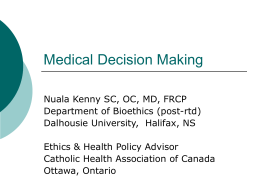 Medical Decision Making (ppt lecture)