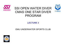 SSI OPEN WATER DIVER CMAS ONE STAR DIVER PROGRAM