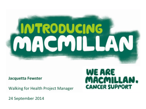 Exercise & Macmillan Cancer Support - Jacquetta Fewster