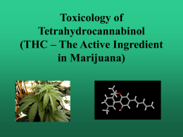 Toxicology of Tetrahydrocannabinol (THC – The Active