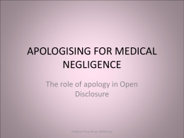 APOLOGISING FOR MEDICAL NEGLIGENCE