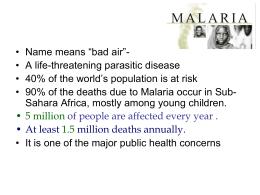 Lecture: Malaria