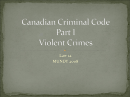 Canadian Criminal Code Part I
