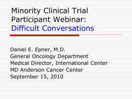 Minority Clinical Trial Participant Webinar
