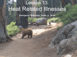 Lesson 13: Heat Related Illnesses - Bsa