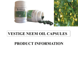 VESTIGE NEEM OIL CAPSULES PRODUCT INFORMATION
