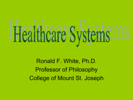 Lecture 9: Health Care Systems