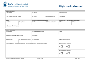 Ship`s medical record - Sjøfartsdirektoratet