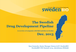 The Swedish Drug Development Pipeline