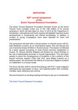 INVITATION XIXth annual symposium of the Dutch Thyroid