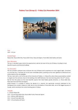 Padova Tour (Group 1) – Friday 21st November 2014