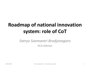 Roadmap of national innovation system: role of CoT