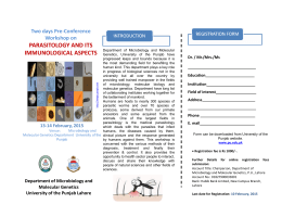Two days Pre-Conference Workshop on PARASITOLOGY AND ITS