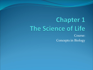 Bio I Chp 1 The Science of Life
