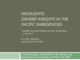 Highlights IASC Gender Marker Implementation