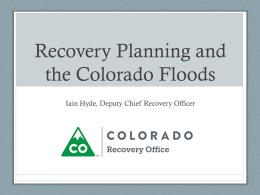 Recovery Planning and the Colorado Floods