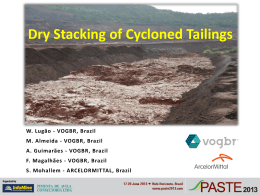 Dry Stacking of Cycloned Tailings.