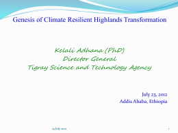 Kelali_Genesis of Climate Resilient Highland Transformation