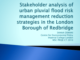 Stakeholder analysis of urban pluvial flood risk management