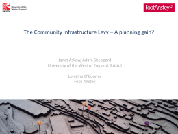 The Community Infrastructure Levy – A planning gain?