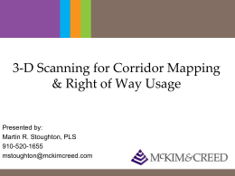 3d Scanning for Corridor Mapping & Right of Way Usage