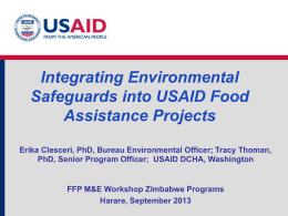 Integrating Environmental Safeguards into USAID Food